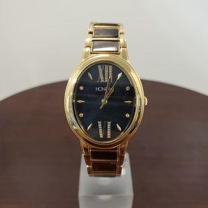 Honora 30mm Oval Case Black-Gold Womens Watch